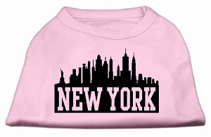New York Skyline Screen Print Shirt Light Pink Lg (14)